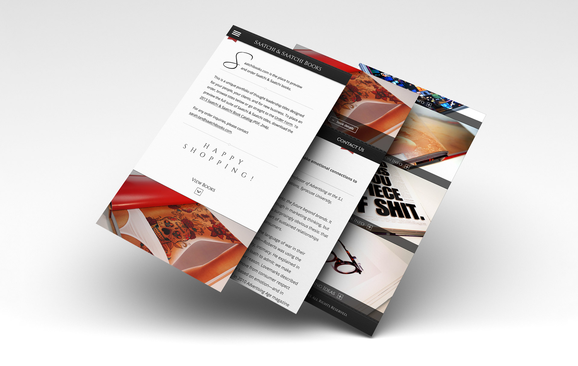 Mobile designs for Saatchi & Saatchi Books website